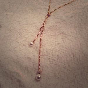 Michael Kors Lariat Style Pearl & Crystal Necklace